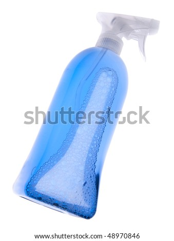 Bright blue bottle of cleaning liquid for spring cleaning.  Isolated on white with a clipping path.