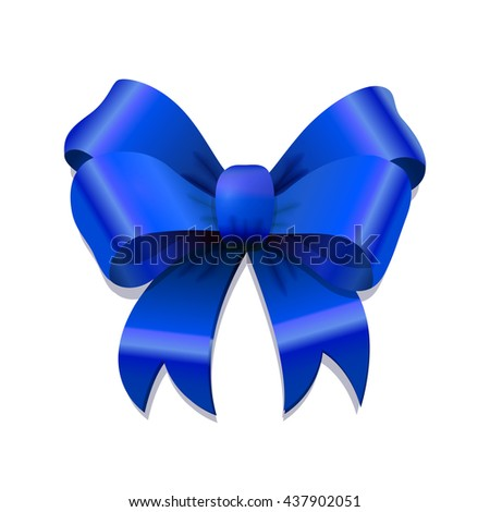 Bright blue bow-knot with shadow isolated on white - stock photo