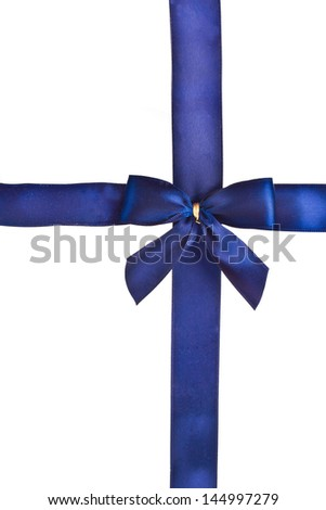 bright blue bow to decorate gifts isolated on white background - stock photo