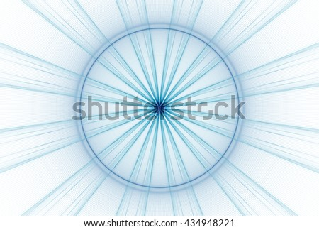 Bright blue / cyan abstract star star / disc design on white background
