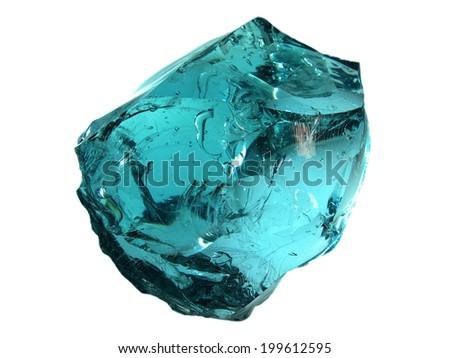 Bright blue cyan glass stone - stock photo