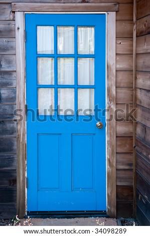 Bright blue door of a Mendocino cabin & Bright Blue Door Mendocino Cabin Stock Photo (Royalty Free) 34098289 ...