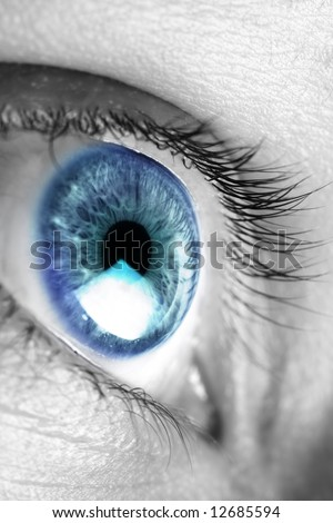Bright blue eye closeup - stock photo