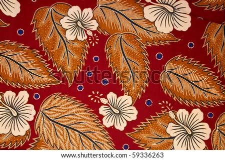 Bright blue floral motif of traditional Batik sarong - stock photo