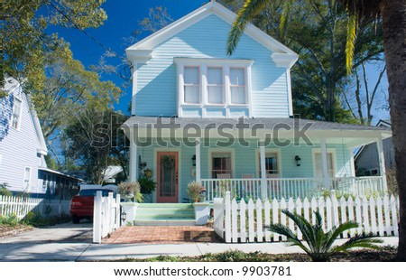 bright blue Florida cottage
