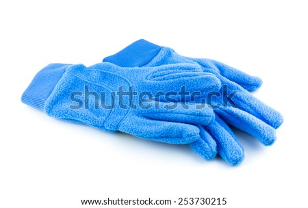 Bright blue gloves isolated on white background - stock photo
