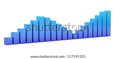 Bright blue graph on a white background - stock photo