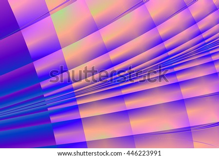 Bright blue, pink, magenta and peach shiny abstract geometric curve design   - stock photo
