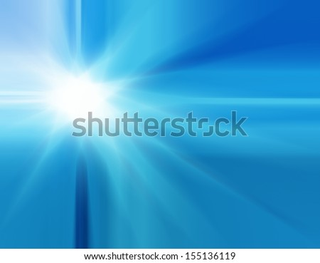 bright blue starburst or white sunburst lens flare design, beautiful summer hot day glare from the sun illustration, explosion or sun beam concept, light from heaven, heat or drought image, blue ray