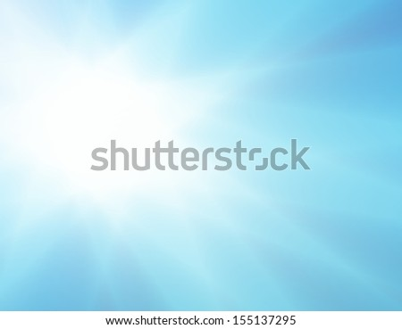 bright blue starburst or white sunburst lens flare design, beautiful summer hot day glare from the sun illustration, explosion or sun beam concept, light from heaven, heat or drought image, blue ray - stock photo