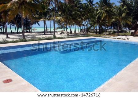 Bright Blue Swimming Pool - stock photo