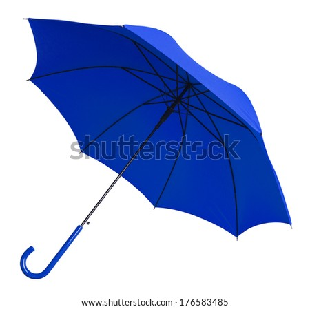 Bright Blue Umbrella Tilted  Isolated on White Background.
