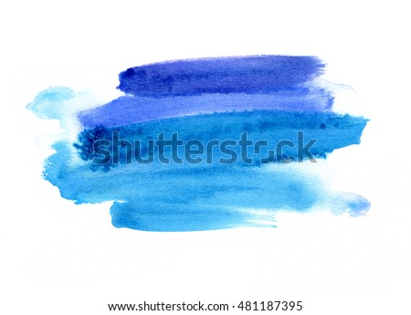 Bright blue watercolor blot on white background, hand made drawing