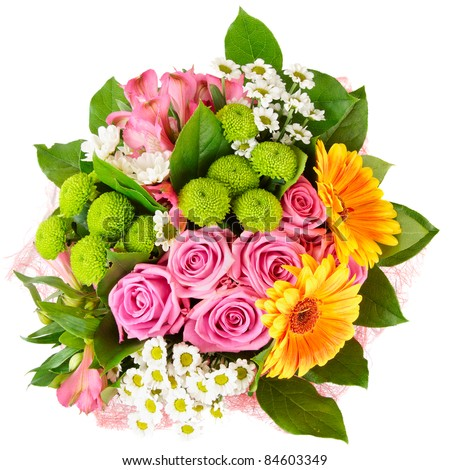 Bright bouquet shot from above, isolated on white - stock photo