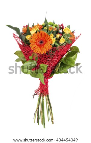 bright bouquet with gerberas and a rose on a white background - stock photo