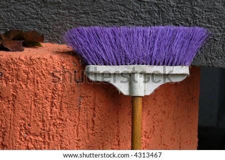 bright broom - stock photo
