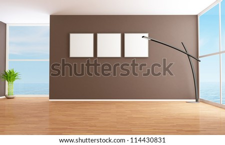 Bright brown empty interior of a sea house - rendering - stock photo