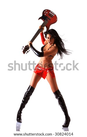 Bright brunette with long hair and a red skirt and long black boots swings an electroguitar, isolated on a white background, please see some of my other parts of a body images