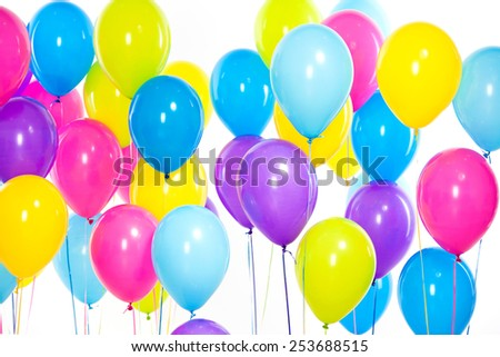Bright bunch of colorful balloons background isolated on white. Holidays, birthday concept.  - stock photo