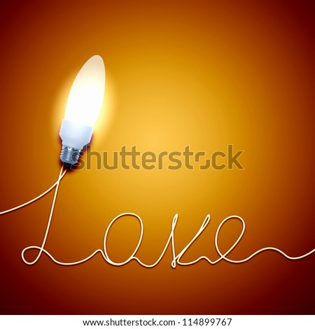 Bright burning light bulb with love concept.