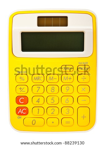 Bright calculator on white background - stock photo