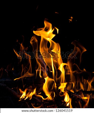 bright campfire isolated on black background - stock photo
