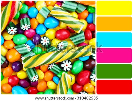 Bright candies and palette of colors - stock photo