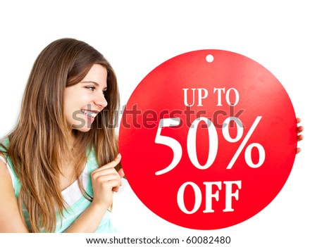 "Bright caucasian woman holding a ""up to 50% off"" red banner against a white background"
