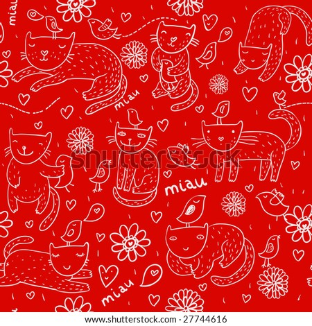 Bright children pattern with cats, birds and spring flowers on it. This illustration in vector - in my portfolio - stock photo