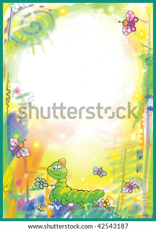 Bright Children's frame with caterpillars and butterflies - stock photo