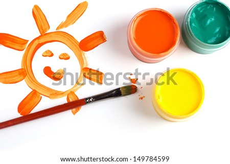 Bright childs drawing and paints on white background. - stock photo
