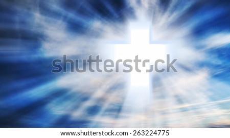 Bright Christian Cross in the Sky with Light Rays, Christianity Symbol - stock photo