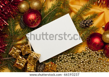 bright christmas background with a blank card - stock photo