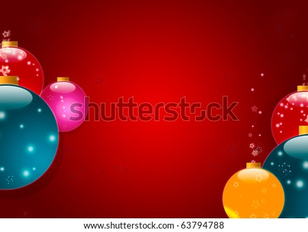 BRIGHT CHRISTMAS BACKGROUND WITH MULTICOLORED BALLS AND SPACE FOR TEXT