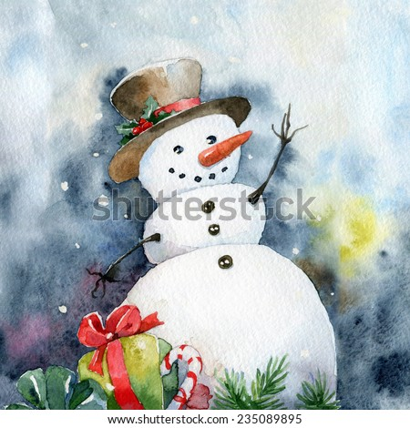 Bright Christmas card. Cheerful snowman. Watercolor illustrations - stock photo