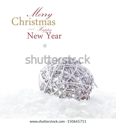 Bright Christmas card with  decorations and snow (with easy removable sample text) - stock photo