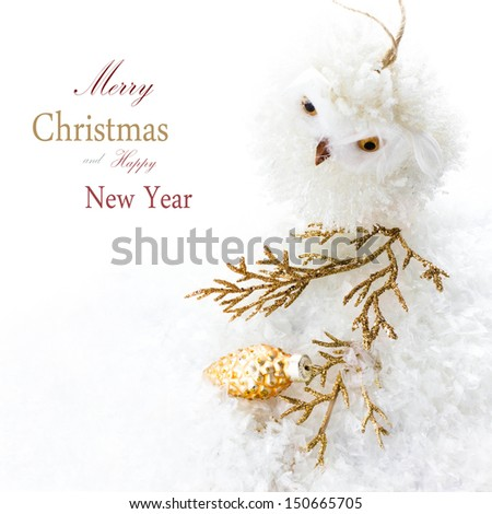 Bright Christmas composition with  decorations and snow (with easy removable sample text) - stock photo