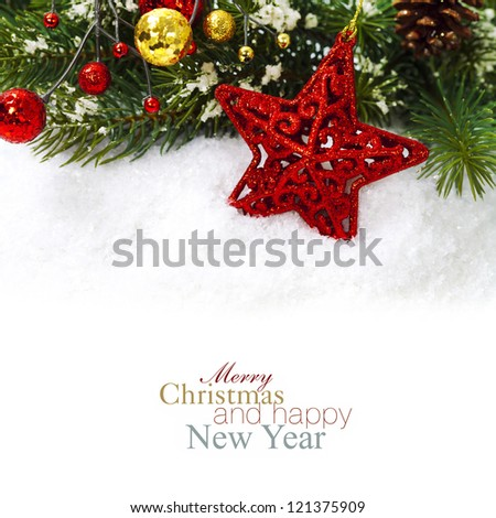 Bright christmas composition with red star (with easy removable sample text) - stock photo