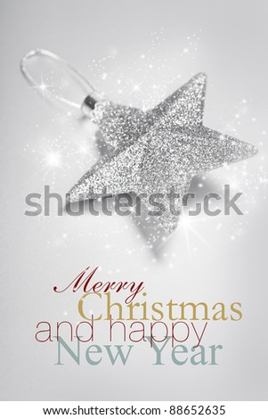 Bright christmas composition with star - stock photo
