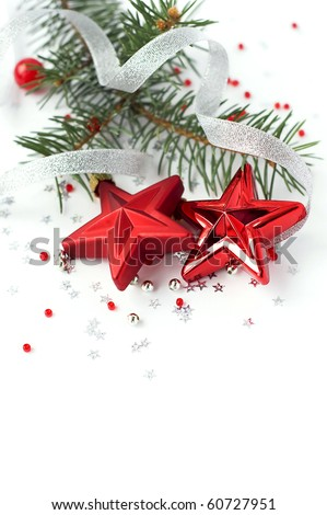Bright christmas composition with stars - stock photo