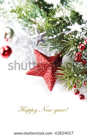 Bright christmas composition with stars and sample text - stock photo