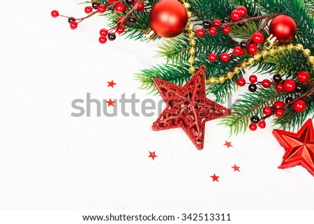 Bright christmas composition with stars. Studio shot - stock photo