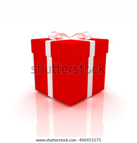 Bright christmas gift on a white background . 3D illustration. Anaglyph. View with red/cyan glasses to see in 3D. - stock photo