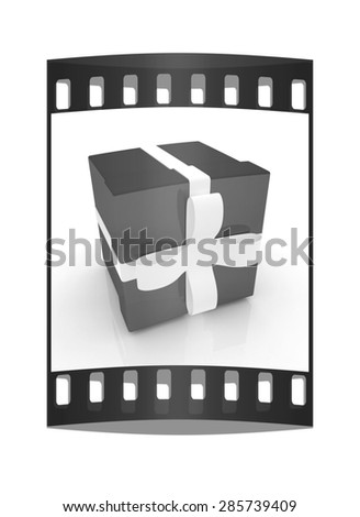 Bright christmas gift on a white background. The film strip - stock photo