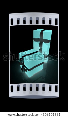 Bright christmas gifts on a black background. The film strip