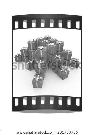 Bright christmas gifts on a white background. The film strip - stock photo