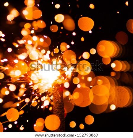 bright christmas sparkler - stock photo