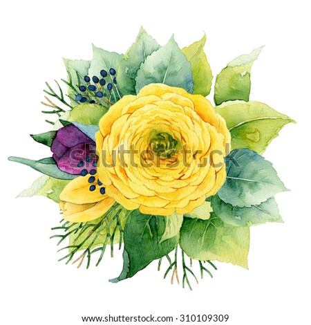 Bright circle floral composition with ranunculus and tulips. Watercolor illustration - stock photo