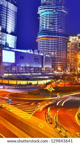 Bright cityscape - stock photo