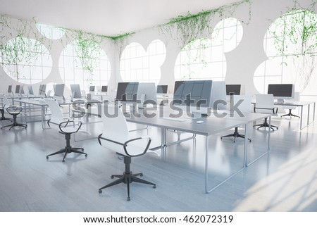 Bright clean coworking office interior with computers, round windows and plants all over walls. 3D Rendering